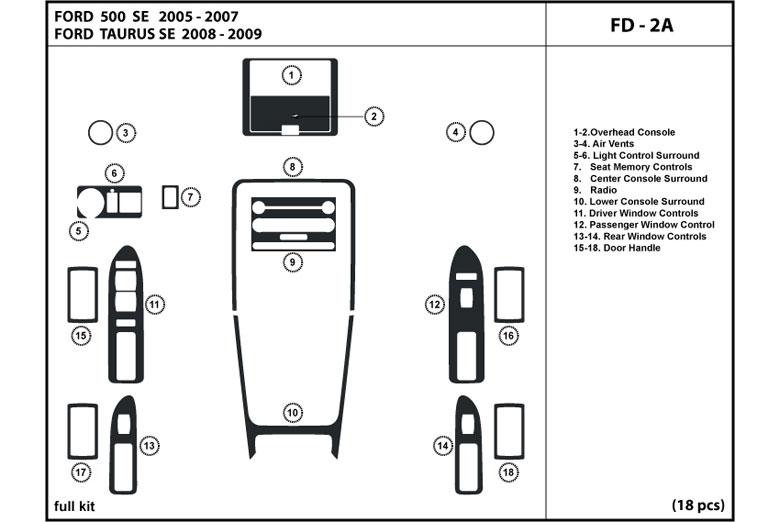 DL Auto® Ford Taurus 2008-2009 Dash Kits
