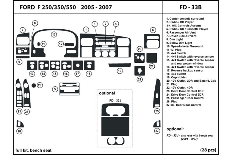 DL Auto® Ford F-250 2005-2007 Dash Kits