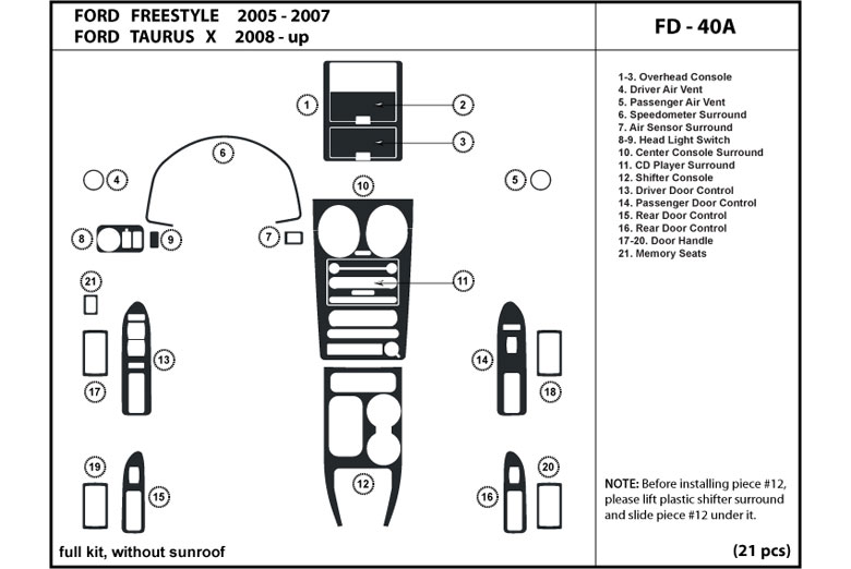 Ford Freestyle Interior Parts Diagram. Ford. Auto Wiring