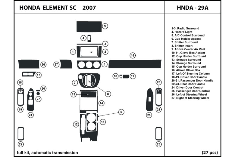 DL Auto® Honda Element 2007 Dash Kits