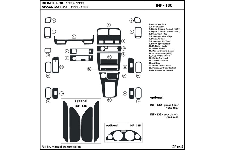 DL Auto® Infiniti I30 1996-1999 Dash Kits