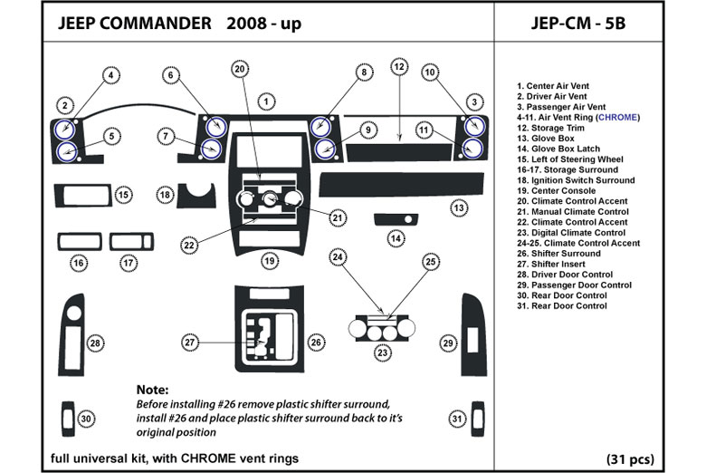 DL Auto® Jeep Commander 2008-2010 Dash Kits