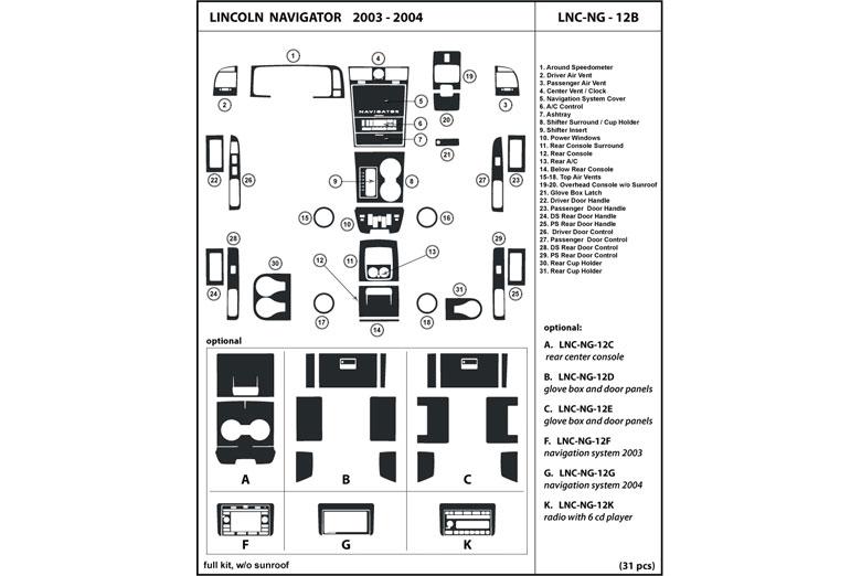 DL Auto® Lincoln Navigator 2003-2004 Dash Kits