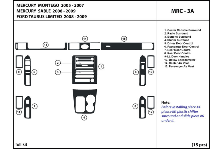 DL Auto® Mercury Montego 2005-2007 Dash Kits