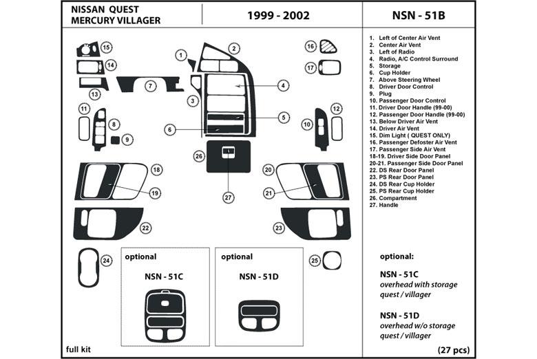 DL Auto® Mercury Villager 1999-2002 Dash Kits