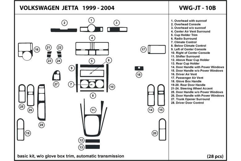 DL Auto® Volkswagen Jetta 1999-2004 Dash Kits