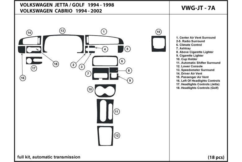DL Auto® Volkswagen Cabrio 1995-2002 Dash Kits