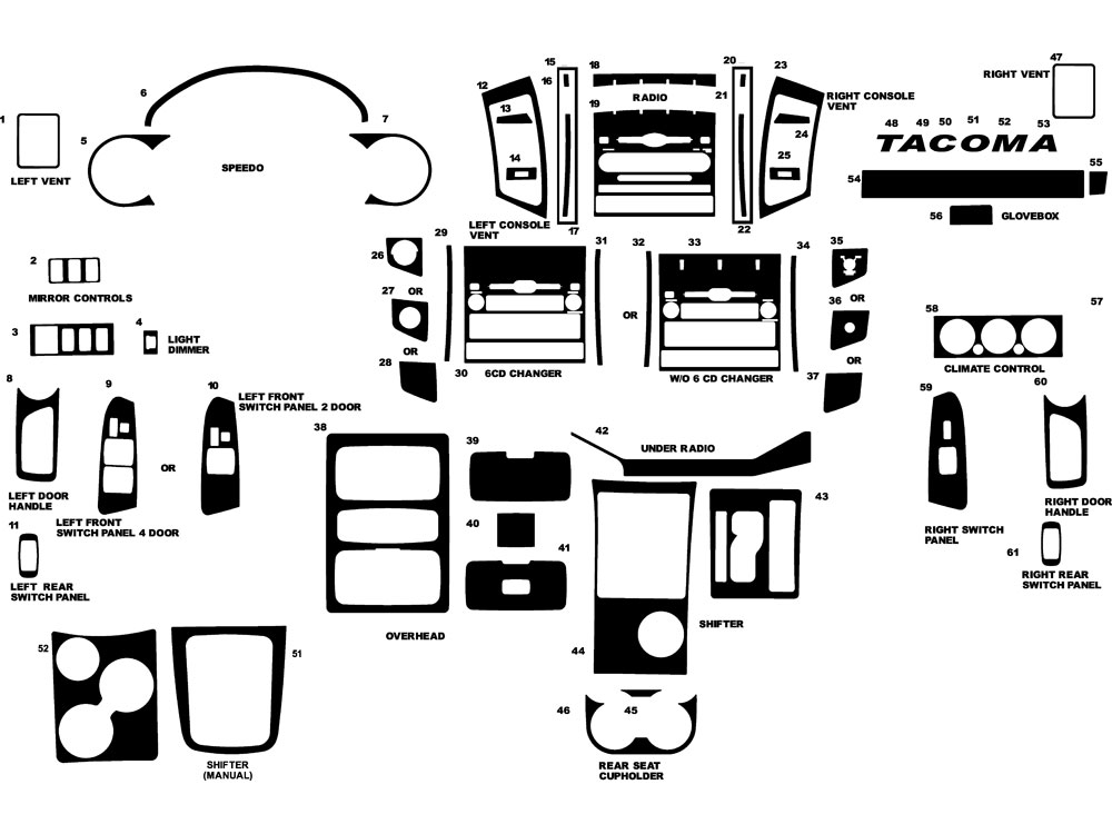 2006 Toyota Tacoma Dash Diagram. Toyota. Auto Parts