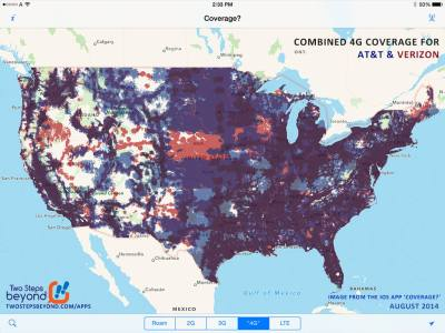 The combined 4G footprints of AT&T and Verizon - from the August 2014 release of Coverage?.