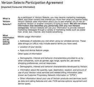 Some highlights from the Verizon Selects Participation Agreement.