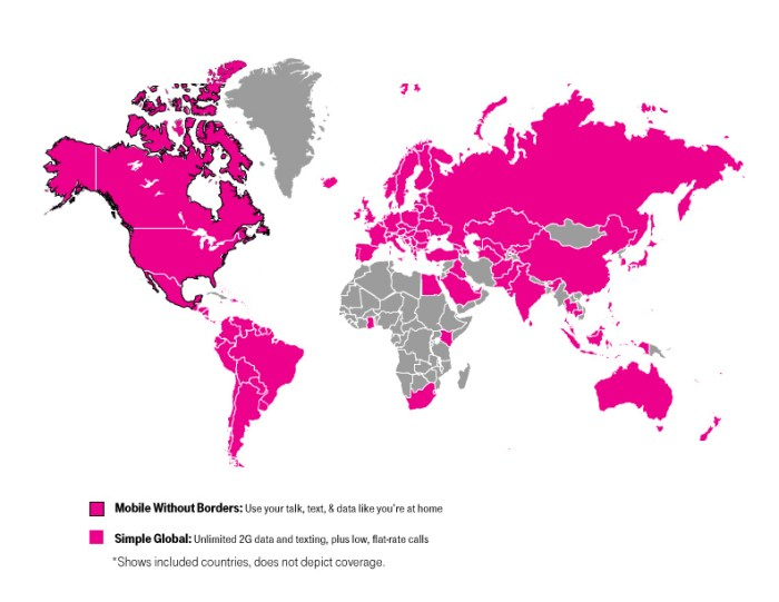 With T-Mobile, you can roam just about anywhere...