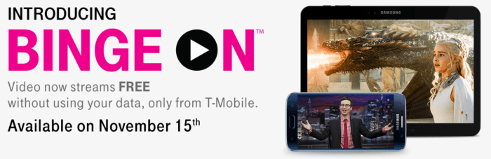 "T-Mobile's ""Binge On"" feature supports nearly all streaming services - but it is being replaced by the T-Mobile One plan that offers unlimited video of all sorts from all sources."