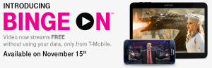 "T-Mobile's ""Binge On"" feature supports nearly all streaming services, unlike AT&T and Verizon."
