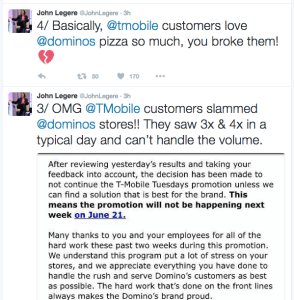 T-Mobile CEO John Legere shared the letter Dominos sent to all their stores, announcing they were backing out of the promotion.