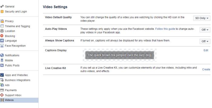 Facebook browser video settings