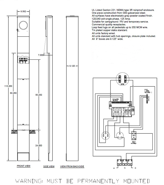 rv 50 amp service diagram simplex 4020 wiring 30 20amp direct burial pedestal electrical box with meter spec for