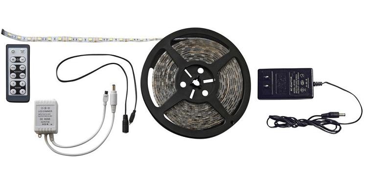 LED Strip Light Kit, RF Remote, 16 Ft, Warm White