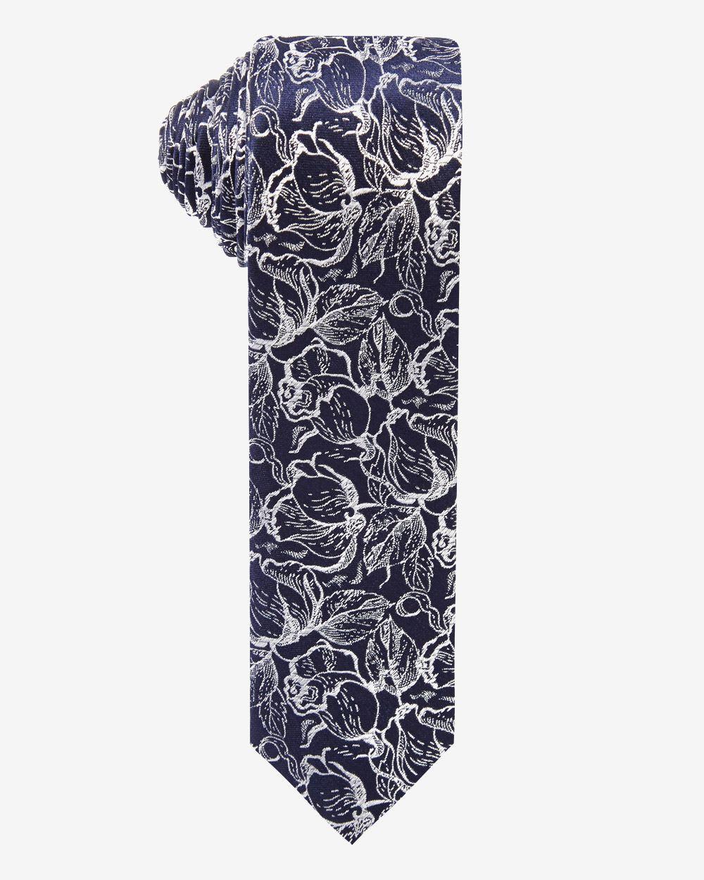 Skinny white floral Tie