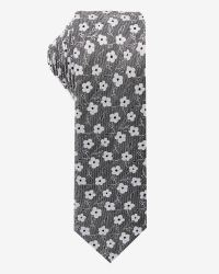 Skinny grey and white Floral Tie