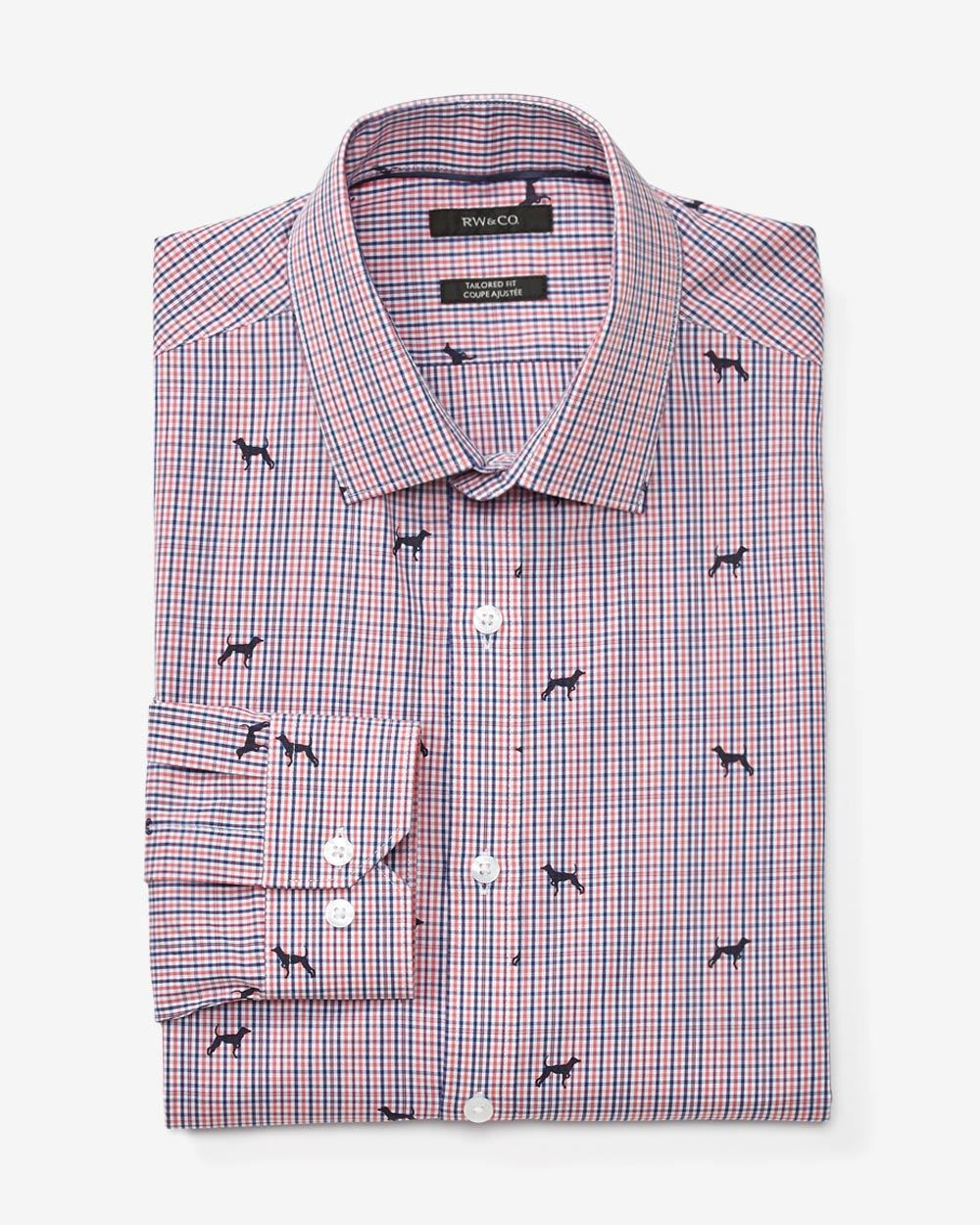 Tailored fit dress shirt with dog print check
