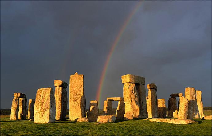 UK LandscapeSouthern England Stonehenge Rainbow