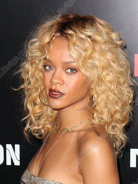 Custom Rihanna Hairstyle Tcolor Blonde Curly Lace Wigs