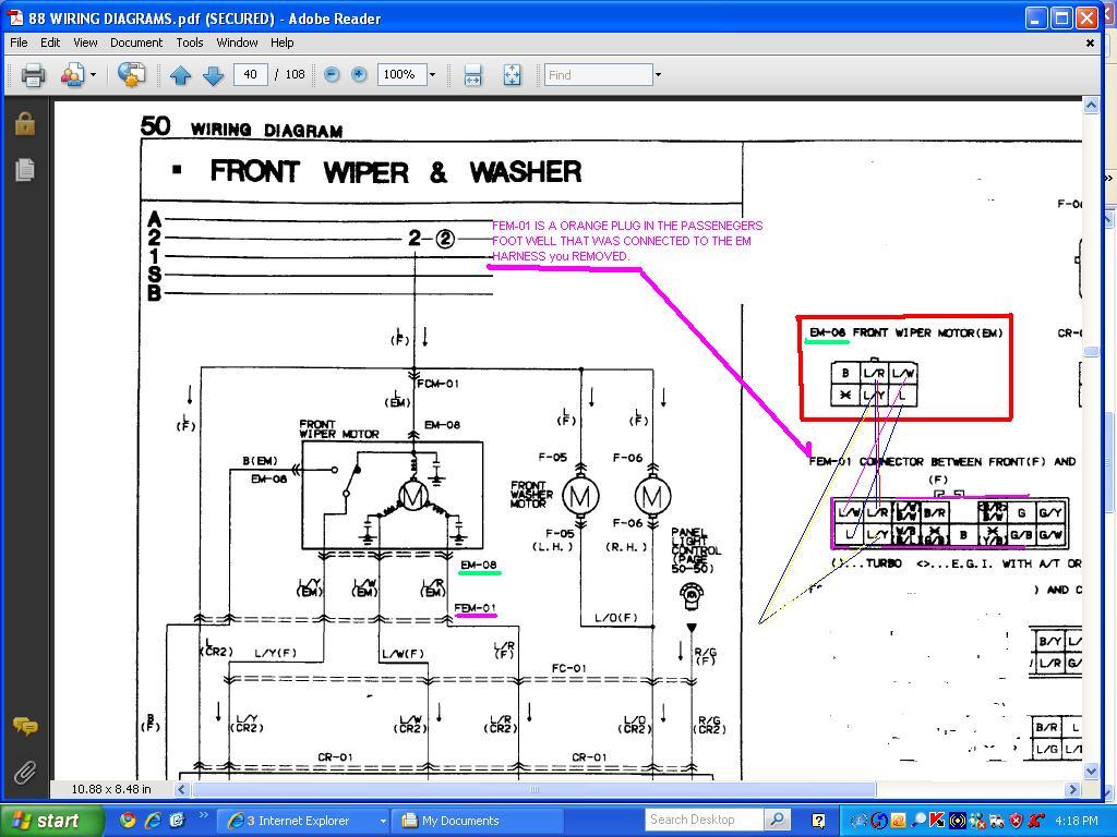 mazda wiper motor wiring diagram