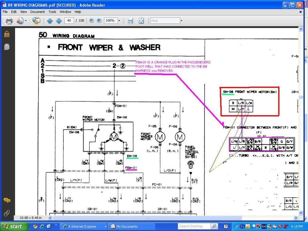 medium resolution of windshield wiper motor wiring rx7club com mazda rx7 forum window motor wiring diagram mazda wiper motor wiring diagram
