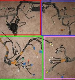 1993 front harness annotated connector pictures rx7club com 1980 mazda rx7 wiring harness 1993 front harness [ 1024 x 768 Pixel ]