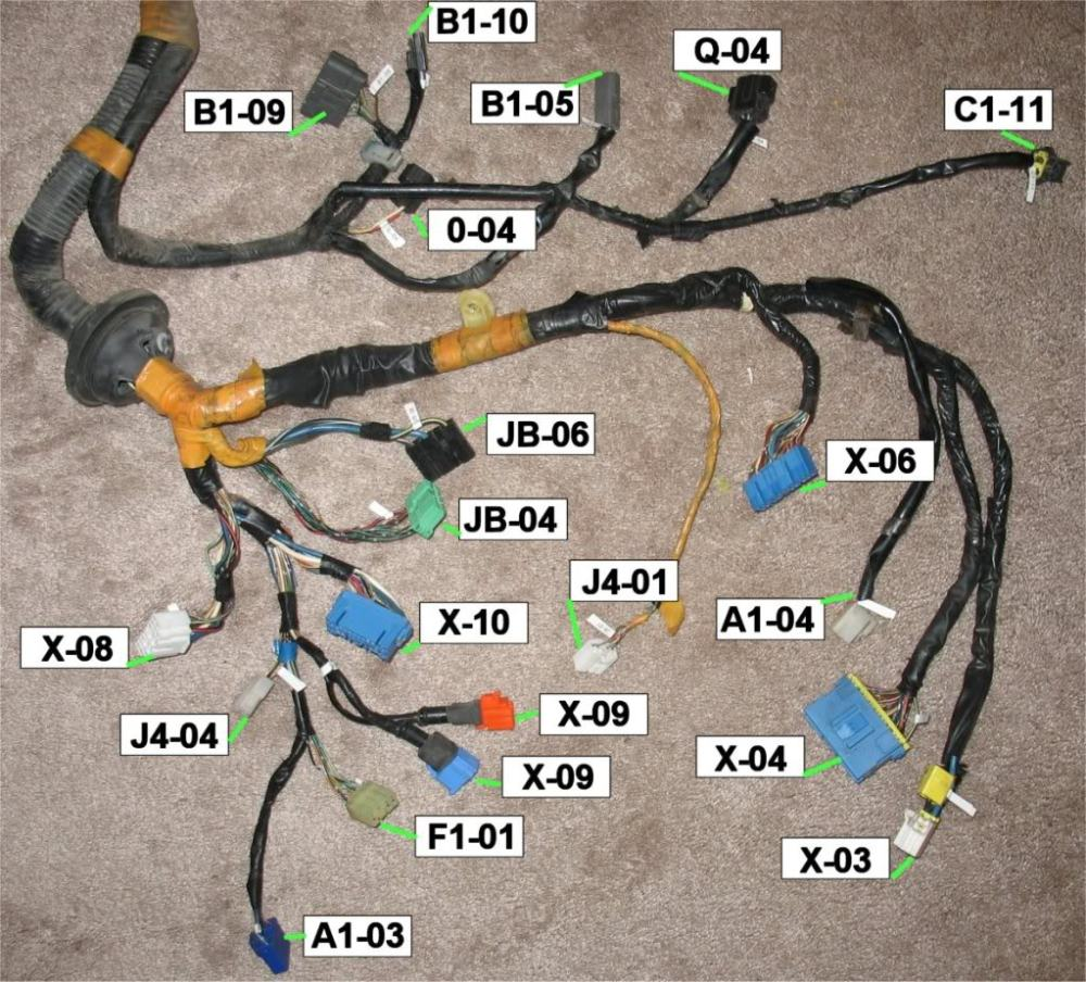 medium resolution of 1993 front harness annotated connector pictures rx7club com 93 mazda rx7 wiring harness mazda rx7 wiring harness