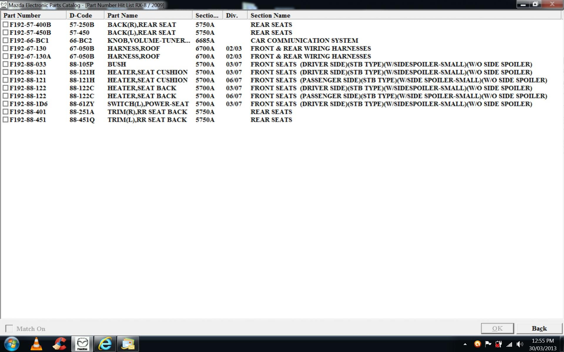 Series II Mazda OE Parts Number Listings- Complete