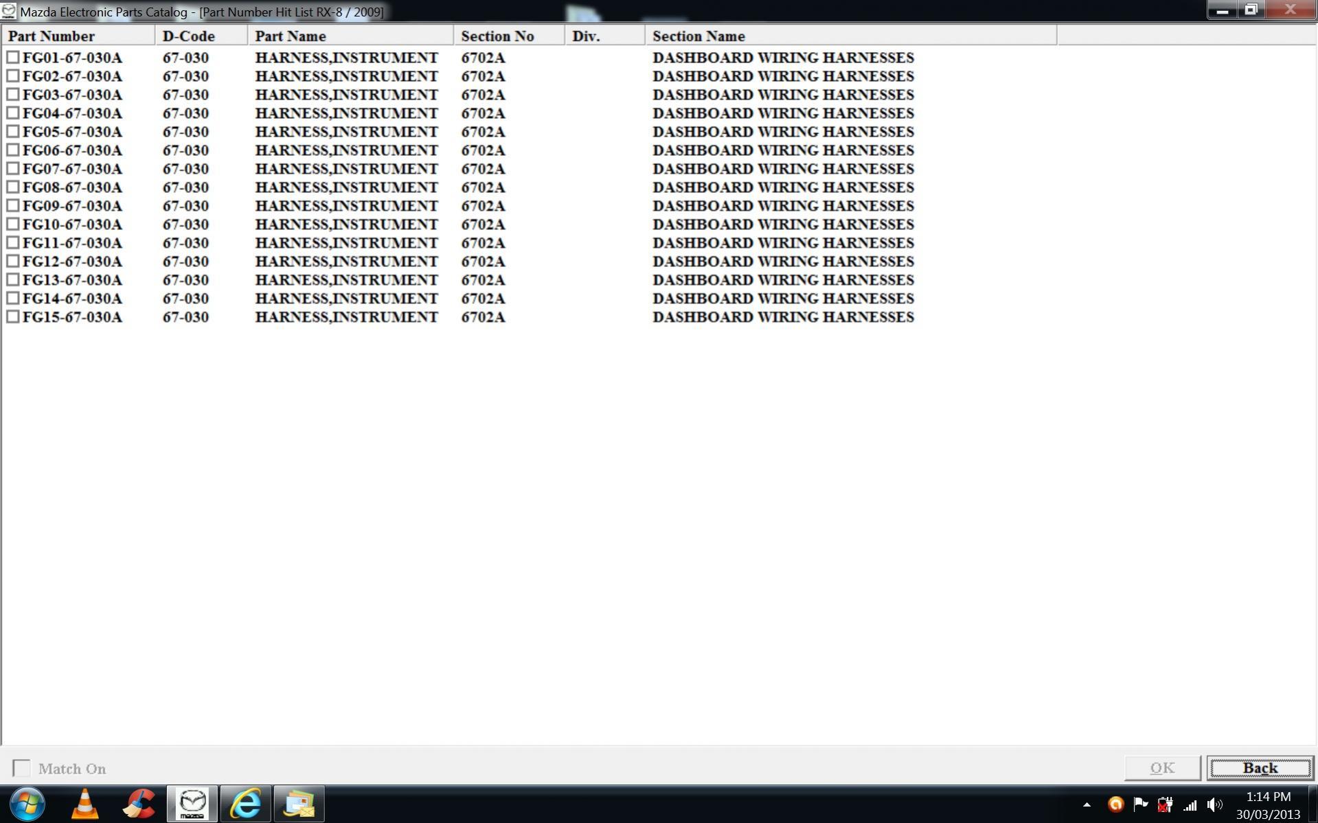 Series Ii Mazda Oe Parts Number Listings Complete