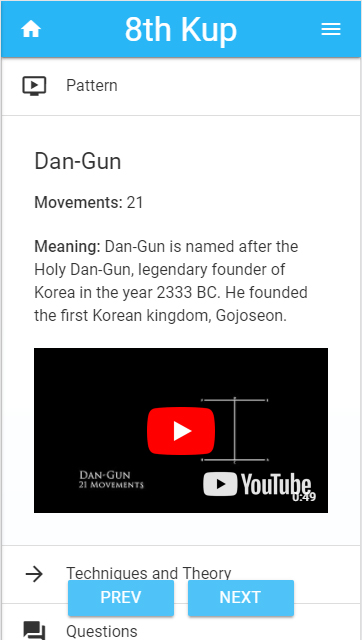 Taekwon-do Learning Smartphone
