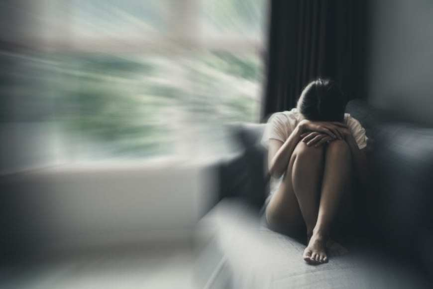 Woman with Agoraphobia fear