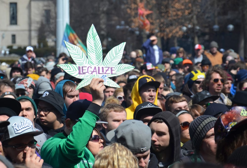 Crowd of people to promote legalization of cannabis