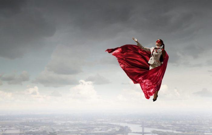 superhero dreaming woman