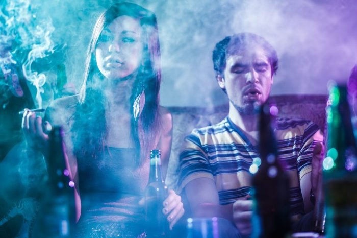 alcohol abuse recovery might be needed here for these smoking and drinking partiers