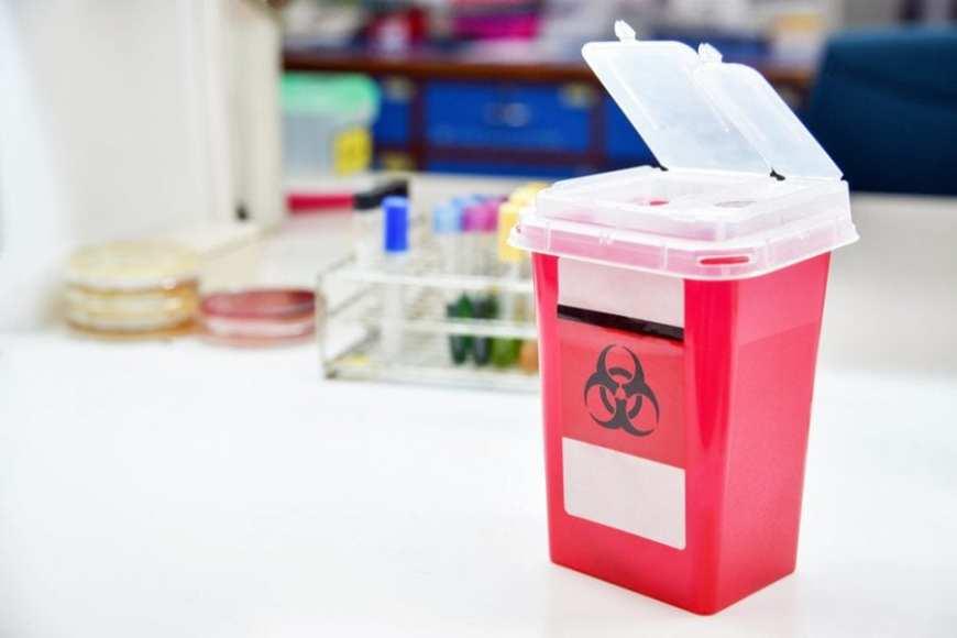 Biohazard needle drop off
