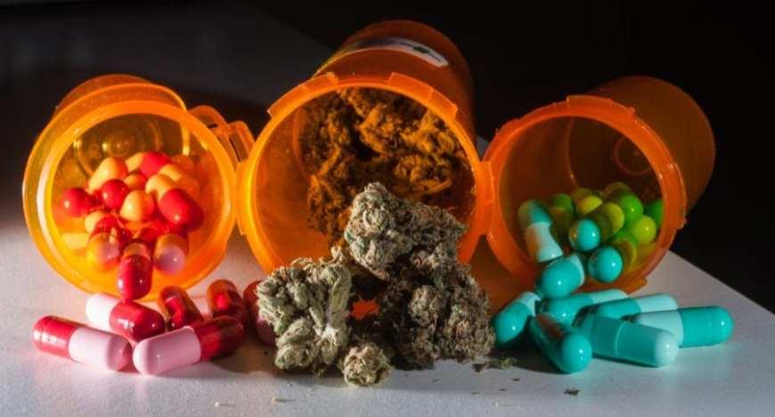 pill bottles and a cannabis bottle
