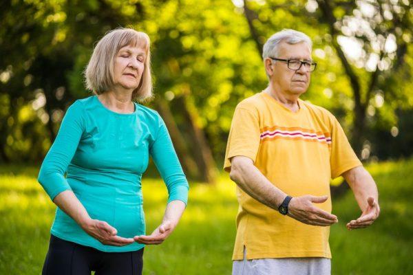 older healthy pain feree couple enhjoying tai chi