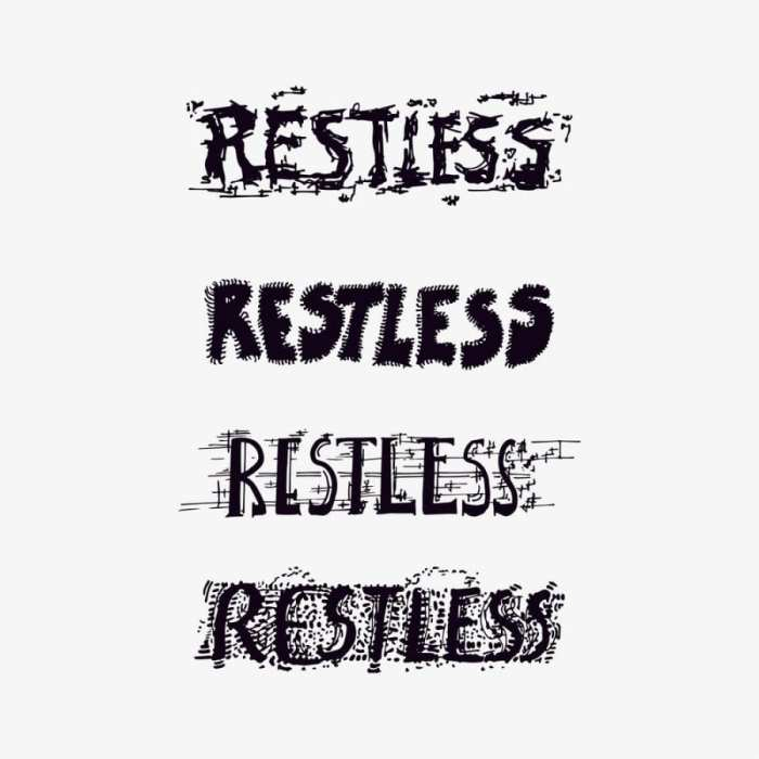 Graphic showing the word restless written over and over