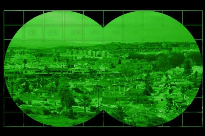 night vision view through the goggles