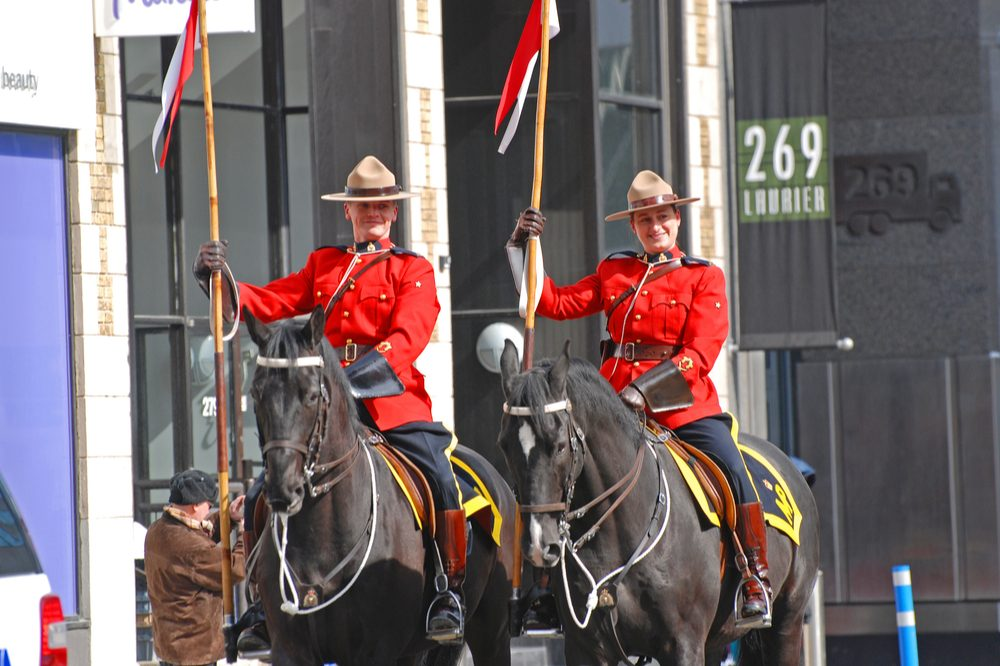 royal canadian mounted police in parade