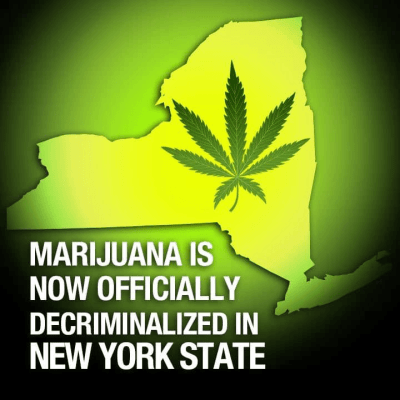 an outline of New York State, where Marijuana is decriminalized.