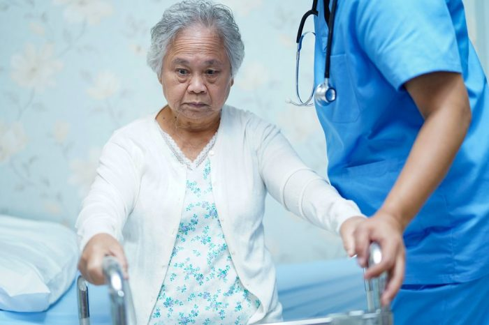 acute inflammation might be slowing down this older adult, but she's in a medical professional's hands
