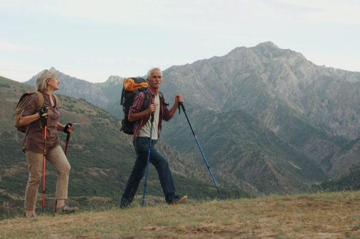 cannabis culture at rxleaf represented by active older adults hiking in mountains