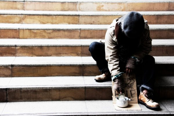 psychosis in homeless man on steps