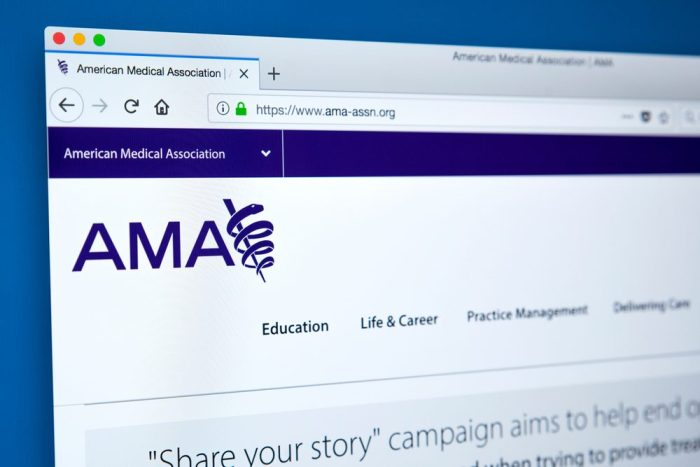standardized medicine in view on the AMA website frontpage