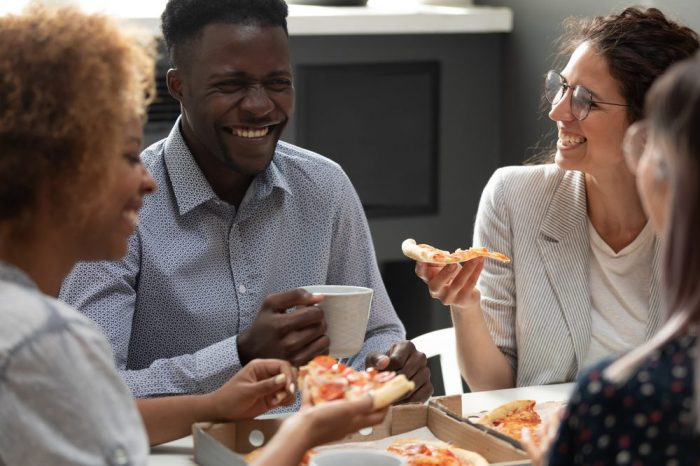 mental health first aid kit demonstrated by friends eating together