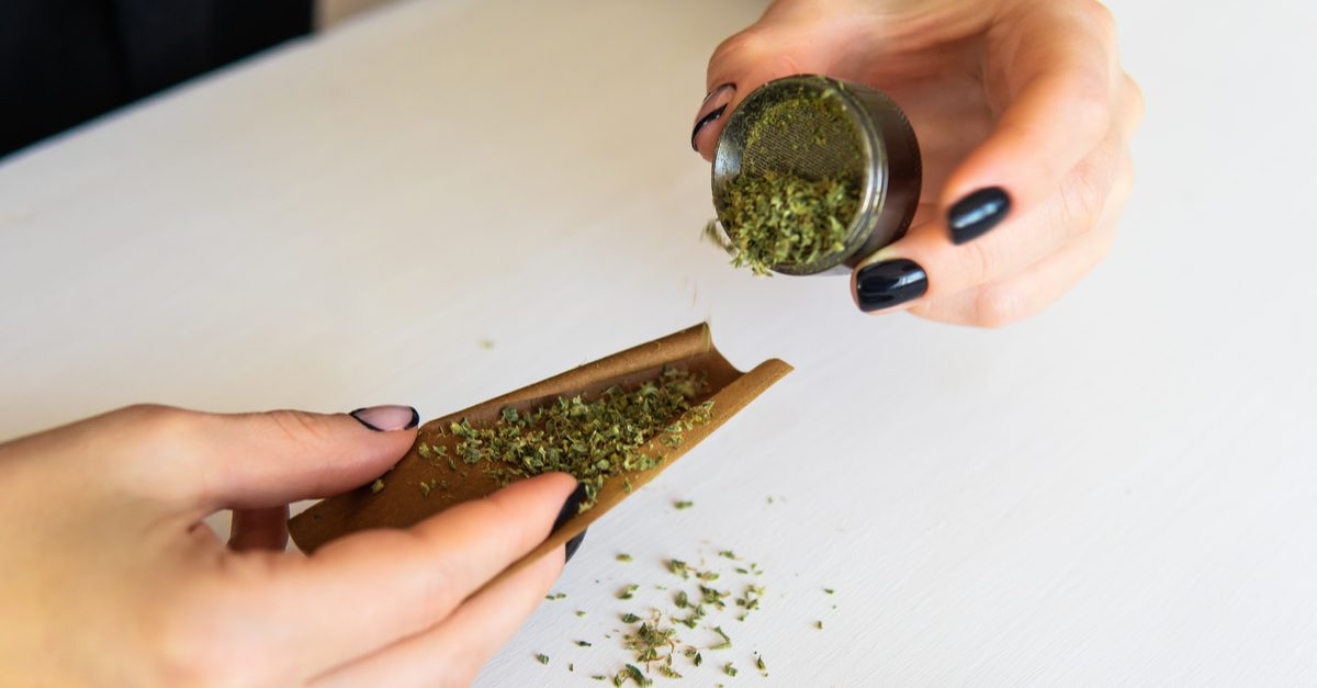 cannabis abuse disorder preparing cannabis with grinder and blunt wrapper